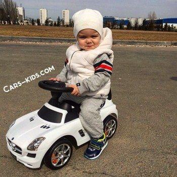 Толокар Mercedes SLS белый (музыка, гудок, бардачок)
