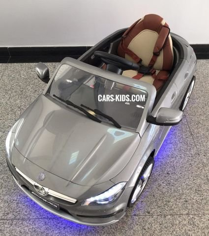 Электромобиль Mercedes-Benz CLA 45 AMG серый (колеса резина, сиденье кожа, пульт, музыка)